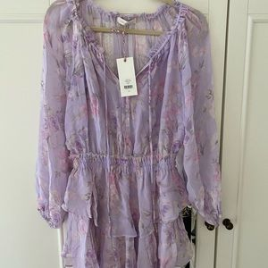 Loveshackfancy popover dress hibiscus floral NWT